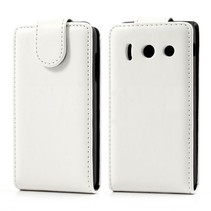 Wit lederen Flip Case hoesje Huawei Ascend Y300