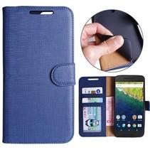 Blauw Gestreept Patroon Bookcase Hoesje Huawei Nexus 6P