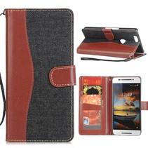 Zwart Jeans Bookcase Hoesje Huawei Nexus 6P
