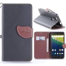 Zwart Blad Design Bookcase Hoesje Huawei Nexus 6P