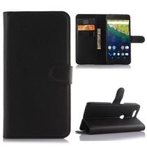 Zwart Litchi Bookcase Hoesje Huawei Nexus 6P