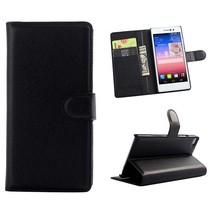 Zwarte lychee Bookcase hoes Huawei P8