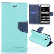Diary Cyaan Bookcase Hoesje Huawei P9 Lite