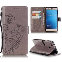Grijs Bloem en Vlinder Bookcase Hoesje Huawei P9 Lite