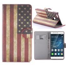 Amerikaanse Vlag Bookcase Hoesje Huawei P9 Lite