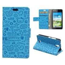 Blauw Figuurtjes Bookcase Hoesje Huawei Y360