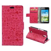 Roze Figuurtjes Bookcase Hoesje Huawei Y360