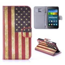 Amerikaanse Vlag Bookcase Hoesje Huawei Y5