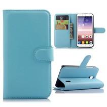 Blauw Litchi Bookcase Hoesje Huawei Y625