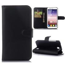 Zwarte lychee Bookcase hoes Huawei Y625