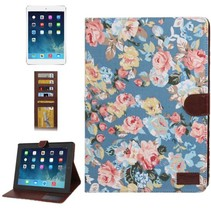 Bloemendesign blauwe flipcover iPad 2 / 3 / 4