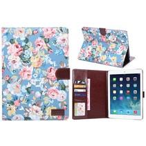 Blauw bloemenstof flipstand hoes iPad Air 2