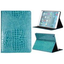 Blauw krokodillenleer cover hoes iPad Air