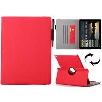 Rood 360 graden stoffen draaibare hoes iPad Pro