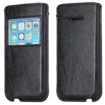 Zwart leder insteekhoesje met venster iPhone 5C