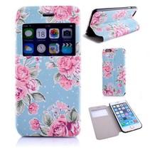 Blauwe bloemenprint Bookcase hoes iPhone 6 / 6s
