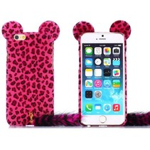 Donkerroze luipaard pluche hoesje iPhone 6 / 6s
