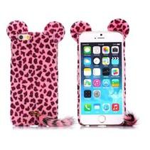 Roze luipaard pluche hoesje iPhone 6 / 6s