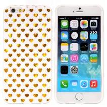 Gouden hartjes wit TPU hoesje iPhone 6 / 6s