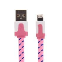 Nylon Lightning naar USB kabel - 100 cm - Roze