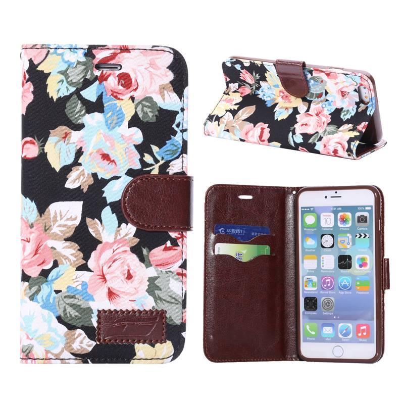 Bloemendesign zwart Booktype  hoesje iPhone 6(s) Plus