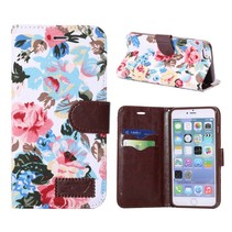 Bloemendesign wit Bookcase hoesje iPhone 6(s) Plus