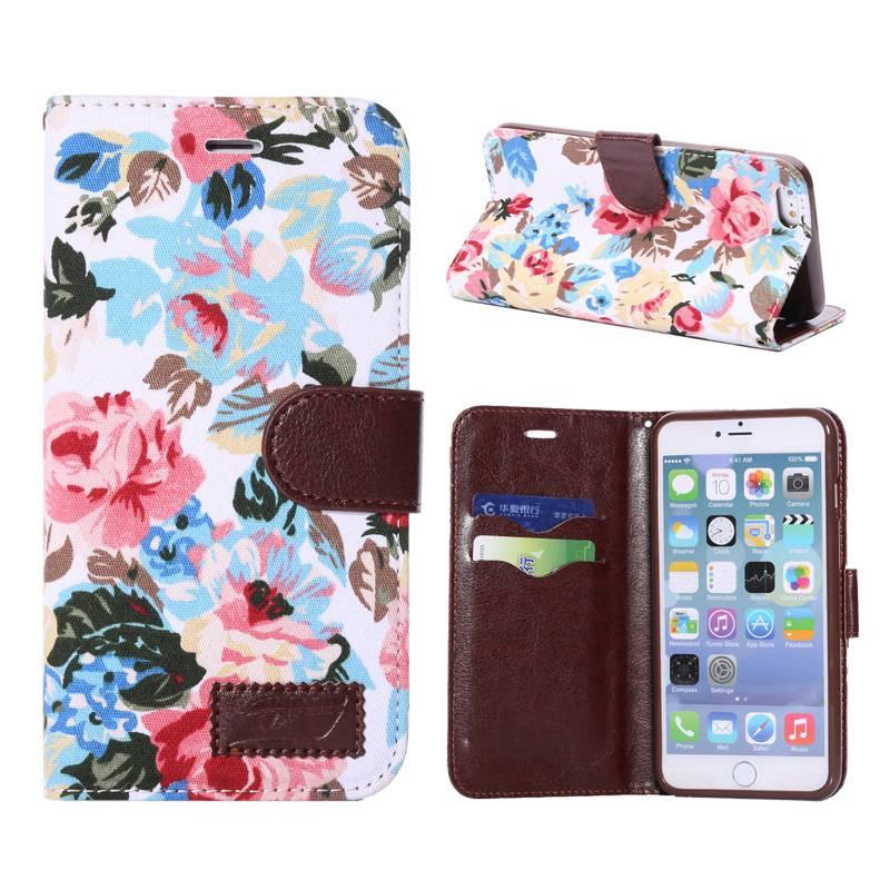 Bloemendesign wit Bookcase hoesje iPhone 6(s) Plus