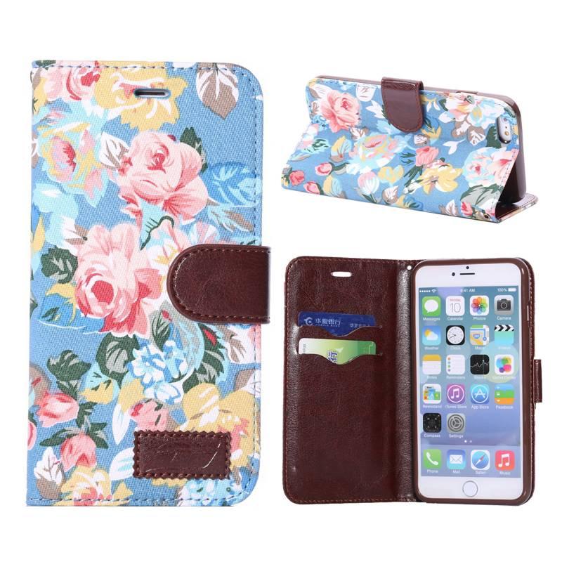 Bloemendesign blauw Booktype  hoesje iPhone 6(s) Plus