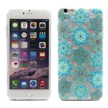 Blauwe bloemen TPU hoesje iPhone 6(s) Plus