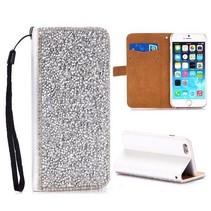 Zilveren diamantjes Bookcase hoes iPhone 6(s) Plus