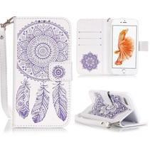 Dromenvanger Wit / Paars Bookcase Hoesje iPhone 7