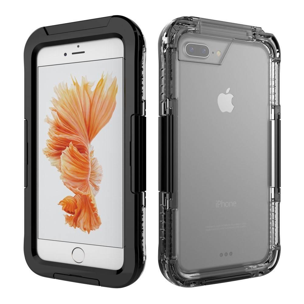Zwart / Transparant Waterdicht Hoesje iPhone 7 Plus