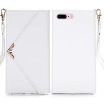 Wit Envelop Design Wallet Hoesje iPhone 7 Plus