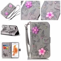 Grijs Roze Bloemen Bookcase Hoesje iPhone 7 Plus