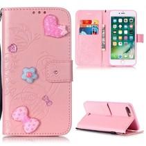 Roze Strikje en Hartjes Bookcase Hoesje iPhone 7 Plus