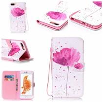 Roze Bloem Bookcase Hoesje iPhone 7 Plus