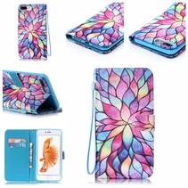 Kleurrijke Bloem Bookcase Hoesje iPhone 7 Plus