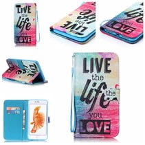 Live the Life you Love Bookcase Hoesje iPhone 7 Plus