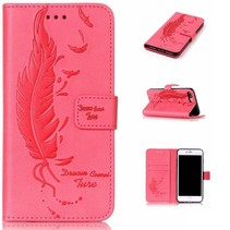 Roze Veer Bookcase Hoesje iPhone 7 Plus