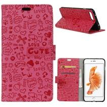 Roze Figuurtjes Bookcase Hoesje iPhone 7 Plus