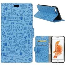 Blauw Figuurtjes Bookcase Hoesje iPhone 7 Plus