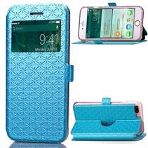 Blauw Geruit Venster Bookcase Hoesje iPhone 7 Plus