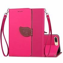 Roze Blad Design Bookcase Hoesje iPhone 7 Plus