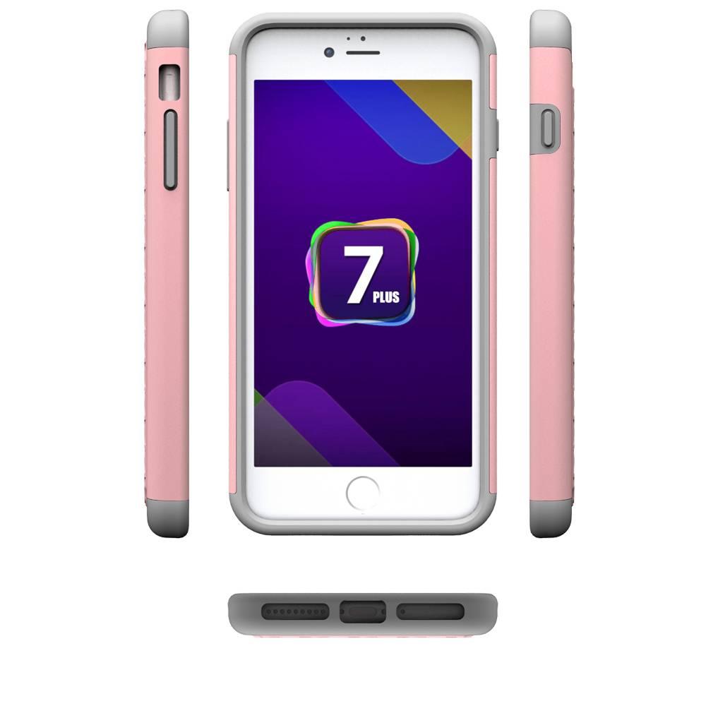Roze Diamantjes Grid Hybrid Hoesje iPhone 7 Plus