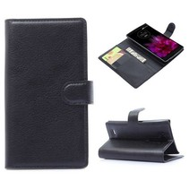 Zwarte lychee Bookcase hoes LG G Flex 2