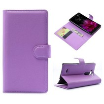 Paarse lychee Bookcase hoes LG G Flex 2