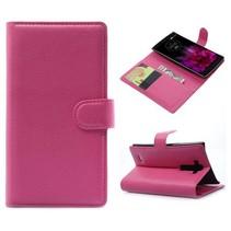 Roze lychee Bookcase hoes LG G Flex 2