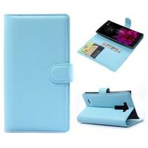 Blauwe lychee Bookcase hoes LG G Flex 2