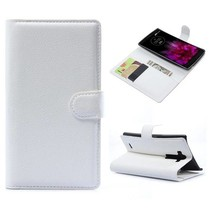 Witte lychee Bookcase hoes LG G Flex 2
