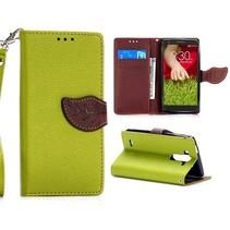 Groene leaf Bookcase hoes LG G3 S